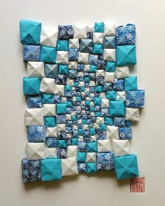 Hiromi Ashlin - Indian Ocean Pearls, Origami Mixed Media, 14x10, $720 framed