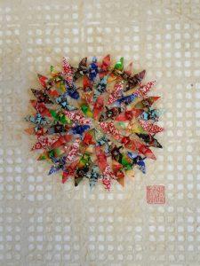 Hiromi Ashlin Kiku Chrysanthemum 10x14 Origami on Panel