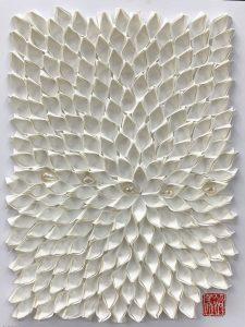 Hiromi Ashlin Zen Pearl IV 12x9 Origami on Panel