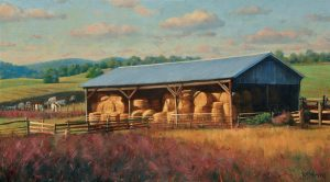Bradley Stevens - Hay Shed Light, 10x32, Oil on Linen