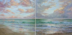 Christine Lashley Caribbean Sunrise I II 30x40 Oil on Canvas