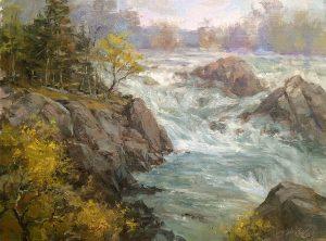 Christine Lashley Great Falls Mist 16x12 Oil on Panel