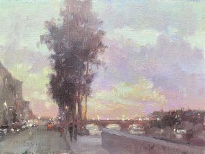 Christine Lashley Paris Twilight 6x8 Oil on Canvas