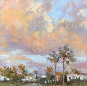 Christine Lashley Salmon Sky Tequesta 12x12 Oil on Canvas