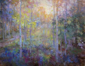 Christine Lashley Tree Shimmer 14x18 Oil on Canvas