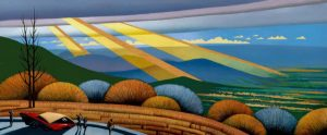 Richard McMurry - Gold Bars over Shenandoah, 25x61, Acrylic on CanvasRichard McMurry - Gold Bars over Shenandoah, 25x61, Acrylic on Canvas