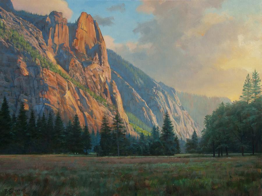 """Bradley Stevens, Valley Sentinels, Yosemite National Park, 30"""" x 40"""", Oil on linen"""