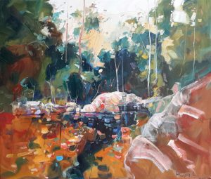 Ken Strong, Potomac Pool Above the Rapids, 28x32, Oil on canvas