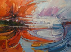 Ken Strong, Sunset Explosion, 36x48, Oil on canvas