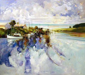 Ken Strong, Tilghman Island Fleet Entry to Chesapeake Bay MD, 48X43, Oil on canvas