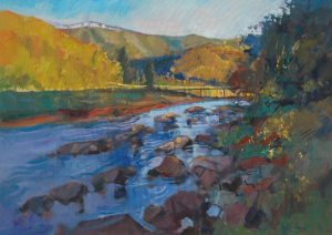 Ken Strong, West Virginia Rapids, 36X26, Oil on canvas