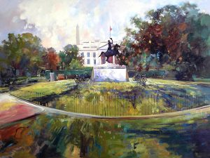 Ken Strong, White House LaFayette Park, 48X36, Oil on canvas