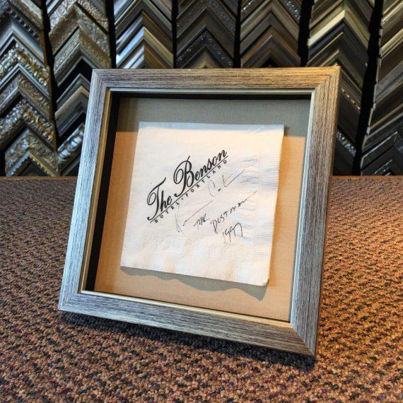 Custom Framing of Signed Cocktail Napkin