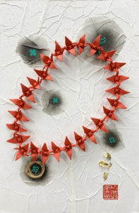 Hiromi Ashlin - Eternal Flight, Origami on Panel, 12x8, $606 framed