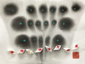 Hiromi Ashlin - Night Flight over Billabongs, Origami Mixed Media, 9x12, $720 framed