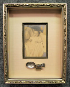Hinged Shadow Box with Removable Silver Baby Spoon