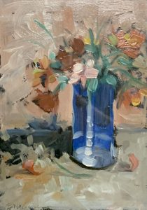 Buck Nelligan Blue Vase 8x6 Acrylic on Paper