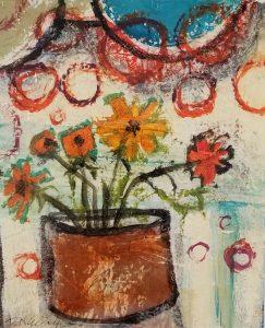 Buck Nelligan Happy Marigolds Acrylic on Paper 6x5 200