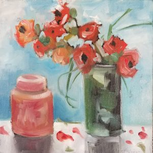 Buck Nelligan Red Canister and Roses 10x10 Acrylic on Canvas 200