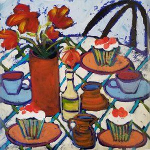 Buck Nelligan Tea and Cupcakes Acrylic on Canvas 24x24 900