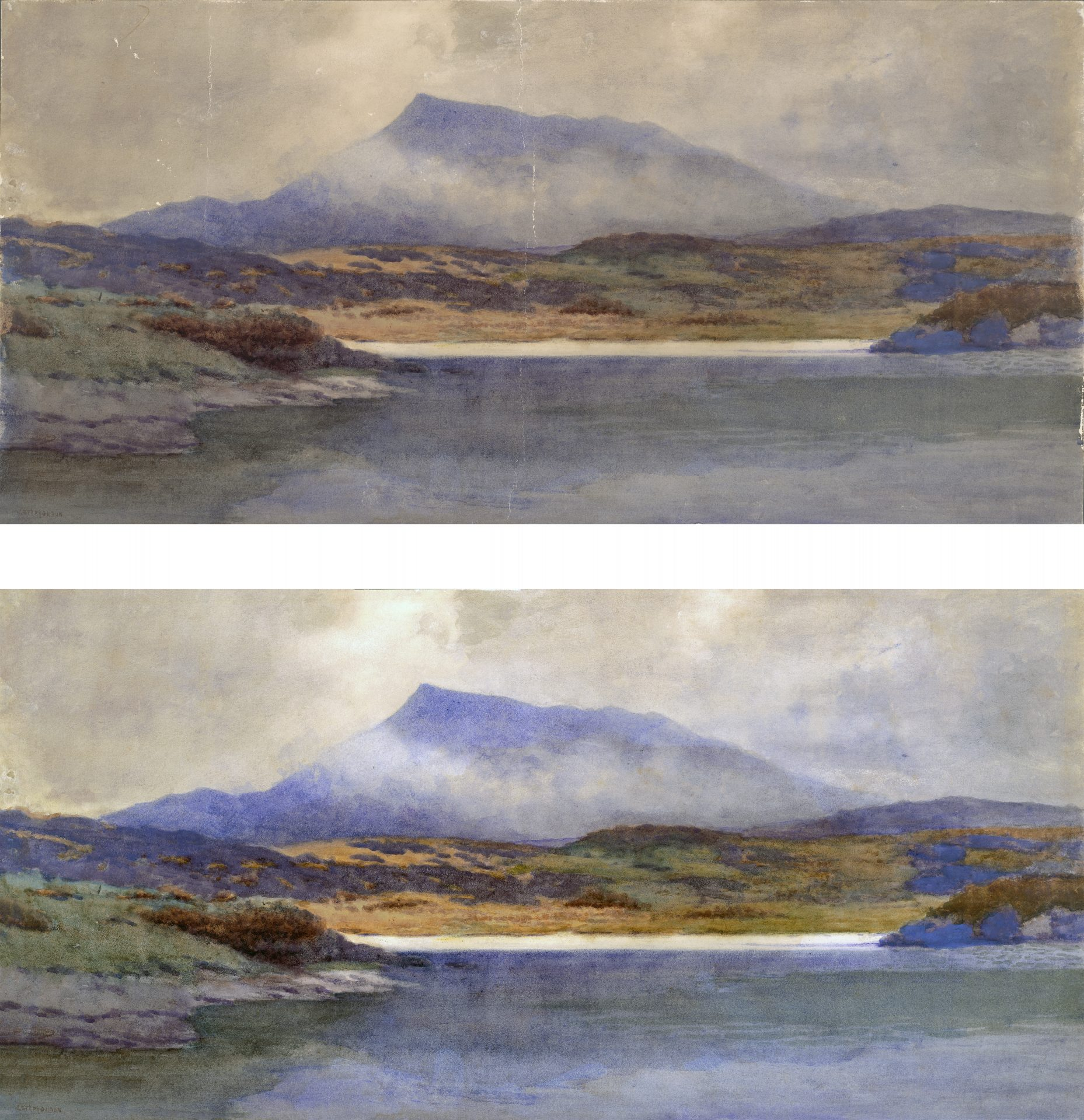 purple mountain watercolor before and after